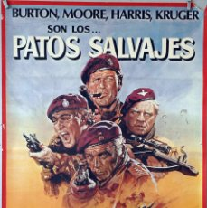 Cine: PATOS SALVAJES. RICHARD BURTON-ROGER MOORE-RICHARD HARRIS. CARTEL ORIGINAL 1978. 70X100. Lote 106544383