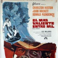 Cine: EL MÁS VALIENTE ENTRE MIL. CHARLTON HESTON-DONALD PLEASENCE. CARTEL ORIGINAL 1968 70X100. Lote 106545255