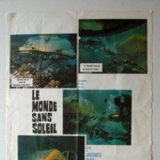 Cine: POSTER ORIGINAL FRANCIA / 1964 / SUBMARINISMO / JACQUES COUSTEAU / LE MONDE SANS SOLEI / 60X80 CM. Lote 81228572