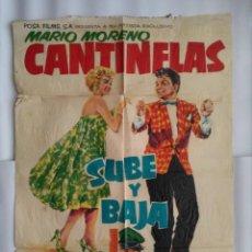 Cine: CARTEL CINE, SUBE Y BAJA, MARIO MORENO CANTINFLAS, CARTEL ORIGINAL 1959, C115. Lote 107022967