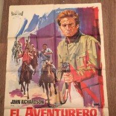 Cine: CARTEL DE CINE DEL ESTRENO DE LA PELÍCULA EL AVENTURERO DE GUAYNAS (1966). Lote 107322343