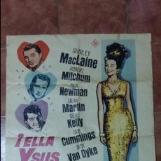 Cine: ANTIGUO CARTEL DE CINE. ELLA Y SUS MARIDOS. 1964. 99 X 69 CM. IDEAL PARA ENMARCAR. Lote 107525243