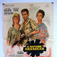 Cine: EL SEPTIMO AMANECER (1964). CARTEL ORIGINAL PROMOCIONAL DE LA PELÍCULA. WILLIAM HOLDEN, SUSANNAH YO. Lote 107579219