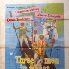 Cine: IN THREE MEN IN A BOAT MOVIE POSTER,1956,DISTRIBUTED BY LION INTERNATIONAL FILM. Lote 108347595