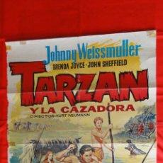 Cine: TARZAN Y LA CAZADORA, POSTER ORIGINAL, JOHNNY WEISSMULLER, 70X100 CMS.. Lote 108463215