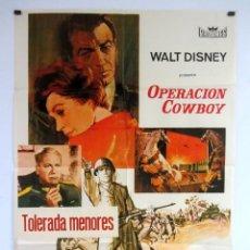 Cine: OPERACIÓN COWBOY (1963) WALT DISNEY ROBERT TAYLOR CARTEL ORIGINAL DE ESTRENO 70X100 CMS.. Lote 108729211