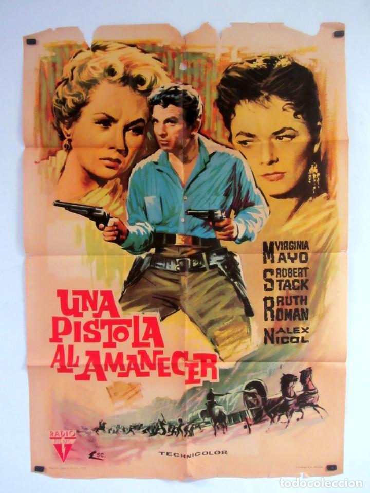 UNA PISTOLA AL AMANECER (1956) VIRGINIA MAYO, ROBERT STACK CARTEL ORIGINAL DE ESTRENO 70X100 CMS. (Cine - Posters y Carteles - Westerns)