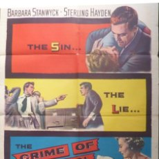Cine: THE CRIME OF PASSION MOVIE POSTER,1957,ONE SHEET.. Lote 108754803