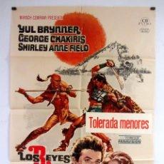 Cine: LOS REYES DEL SOL YUL BRYNNER, CARTEL ORIGINAL DE ESTRENO 70X100 CMS.. Lote 108768755