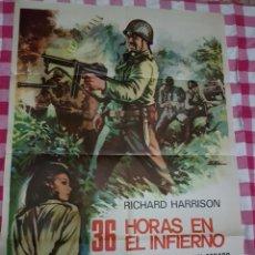 Cine: CARTEL CINE ORIGINAL 36 HORAS EN EL INFIERNO 1972 M. Lote 109044791