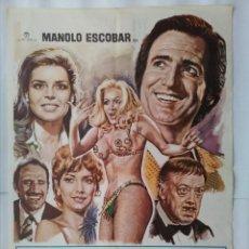 Cine: CARTEL CINE, PRESTEMELA ESTA NOCHE. MANOLO ESCOBAR. AÑO 1977, C205. Lote 109050991