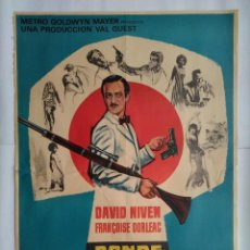 Cine: CARTEL CINE. DONDE ESTAN LOS ESPIAS, DAVID NIVEN, FRANÇOISE DORLEAC, AÑO 1966, C226. Lote 109079815