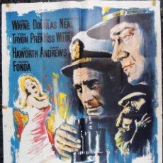 Cine: POSTER CARTEL ORIGINAL ESPAÑOL PRIMERA VICTORIA IN HARM'S WAY JOHN WAYNE 2ª GUERRA MUNDIAL. Lote 109095855