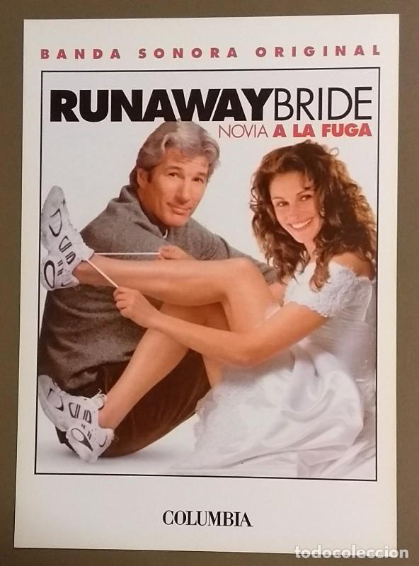 CARTEL PUBLICITARIO PROMOCIONAL. RUNAWAY BRIDE. NOVIA A LA FUGA. B.S.O. SONY. 30 CM. NUEVO (Cine - Posters y Carteles - Comedia)