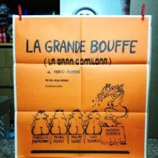 Cine: CARTEL. LA GRANDE BOUFFE. LA GRAN COMILONA. MARCO FERRERI. MARCELLO MASTROIANI. ORIGINAL 1978.. Lote 109285287
