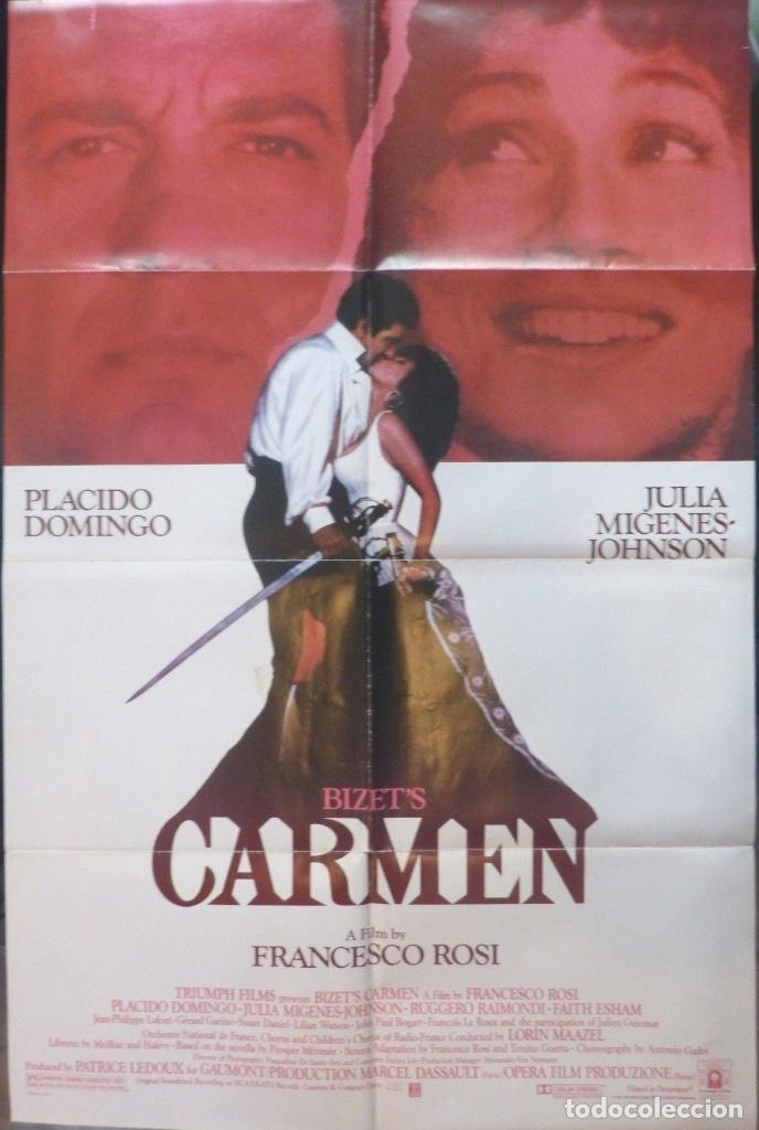 Cine: Bizet´s Carmen movie poster,1984,27x40 inches,Placido Domingo and Julia Migenes- - Foto 1 - 109300363