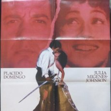 Cine: BIZET´S CARMEN MOVIE POSTER,1984,27X40 INCHES,PLACIDO DOMINGO AND JULIA MIGENES-. Lote 109300363