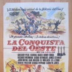 Cine: CARTEL CINE, LA CONQUISTA DEL OESTE, GREGORY PECK, HENRY FONDA, JAMES STEWART,1984, C1282. Lote 109310367