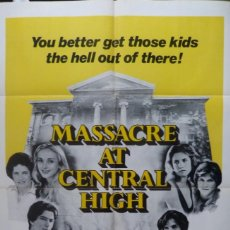Cine: MASSACRE AT CENTRAL HIGH MOVIE POSTER,1976,ONE SHEET.. Lote 109997679