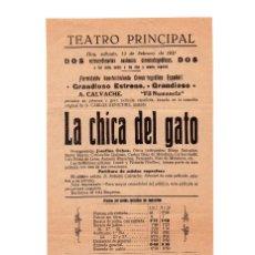Cine: LA CHICA DEL GATO - JOSEFINA OCHOA - BASADA EN LA COMEDIA DE CARLOS ARNICHES - TEATRO PRINCIPAL 1927. Lote 110592379