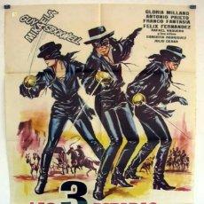 Cine: PÓSTER ORIGINAL -LAS 3 ESPADAS DEL ZORRO- (1963). Lote 111917918