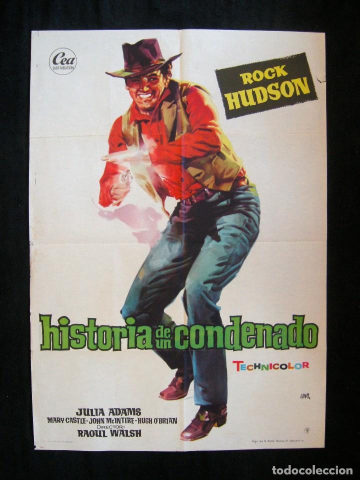 POSTER ORIGINAL ESPAÑA / 70X100 CM /HISTORIA DE UN CONDENADO / ROCK HUDSON / ILUST. JANO (Cine - Posters y Carteles - Westerns)
