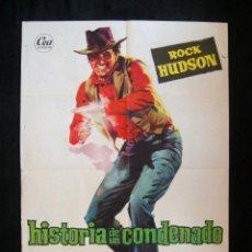 Cine: POSTER ORIGINAL ESPAÑA / 70X100 CM /HISTORIA DE UN CONDENADO / ROCK HUDSON / ILUST. JANO. Lote 112208947