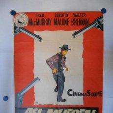 Cine: ASI MUEREN LOS VALIENTES - ESTRENO DE 1955 - CARTEL LITOGRAFICO ORIGINAL 70 X 100. Lote 112370287