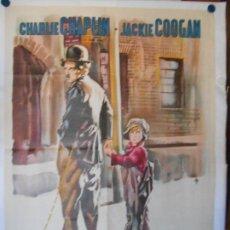 Cine: EL CHICO - 1921 - CHARLES CHAPLIN CHARLOT - CARTEL LITOGRAFICO ORIGINAL 140 X 100 - DIFICILISIMO. Lote 112371419