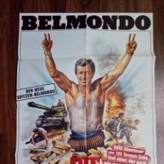 Cine: 1984- RUFIANES Y TRAMPOSOS-LES MORFALOUS-CARTEL CINE PELICULA ORIGINAL-BELMONDO-GRANDE 84X60 CM. Lote 113211655