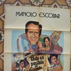 Cine: CARTEL POSTER CINE MANOLO ESCOBAR EN SUCEDIO EN GRANADA. Lote 114912935