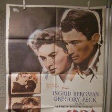 Cine: CARTEL DE CINE ORIG. RECUERDA (1945) 70X100 / ALFRED HITCHOCK / INGRID BERGMAN. Lote 115182687