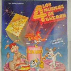 Cine: CARTEL CINE, LOS 4 MUSICOS DE BREMEN - ANIMACION - DIR. CRUZ DELGADO - AÑO 1988 , C330. Lote 116231939