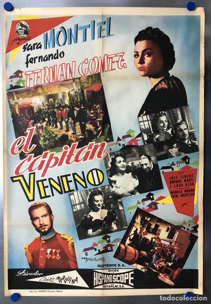EL CAPITAN VENENO - SARA MONTIEL, FERNANDO FERNAN GOMEZ - POSTER ORIGINAL ESTRENO (Cine - Posters y Carteles - Clasico Español)