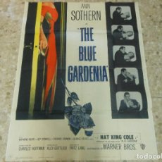 Cine: THE BLUE GARDENIA GARDENIA AZUL CARTEL GIGANTE CINE 2 PIEZAS POSTER AMERICANO 1953 CON ANNE BAXTER. Lote 116938499