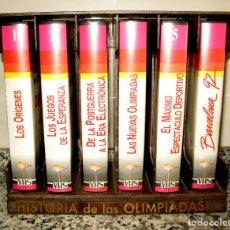 Cine: LOTE DE 6 PELICULAS VHS HISTORIA DE LAS OLIMPIADAS. MUEBLE EXPOSITOR PVC IMITACIÓN MADERA.. Lote 118980247