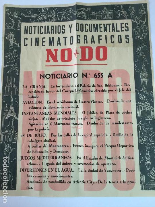 NO DO. NOTICIARIOS Y DOCUMENTALES CINEMATOGRÁFICOS. NOTICIARIO 655 A. AÑO 1955. 48X38 CM. (Cine - Posters y Carteles - Documentales)