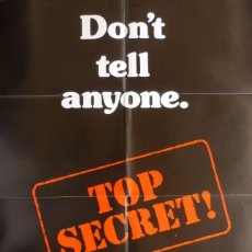 Cine: TOP SECRET MOVIE POSTER, ONE SHEET,ORIGINAL,PARAMOUNT PICTURES,1984. Lote 119490555