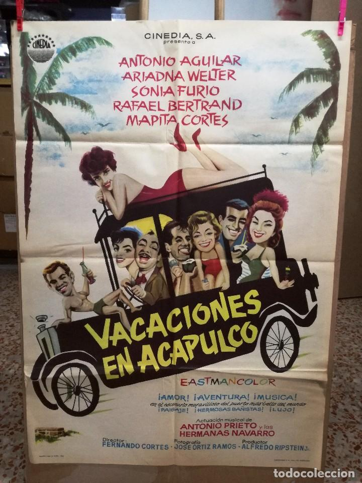 VACACIONES EN ACAPULCO ANTONIO AGUILAR ARIADNA WELTER POSTER ORIGINAL 70X100 ESTRENO (Cine - Posters y Carteles - Comedia)