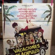 Cine: VACACIONES EN ACAPULCO ANTONIO AGUILAR ARIADNA WELTER POSTER ORIGINAL 70X100 ESTRENO. Lote 120439303