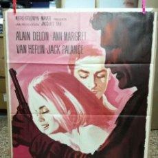 Cine: EL ULTIMO HOMICIDIO. ALAIN DELON ANN-MARGRET POSTER ORIGINAL 70X100 ESTRENO-1965. Lote 120440959