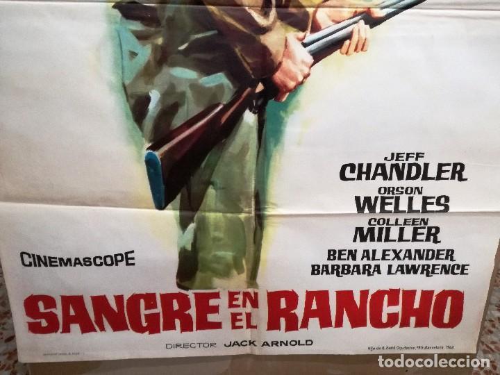 Cine: SANGRE EN EL RANCHO. JEFF CHANDLER-ORSON WELLES. CARTEL ORIGINAL 1962. 100X70 - Foto 2 - 121455663