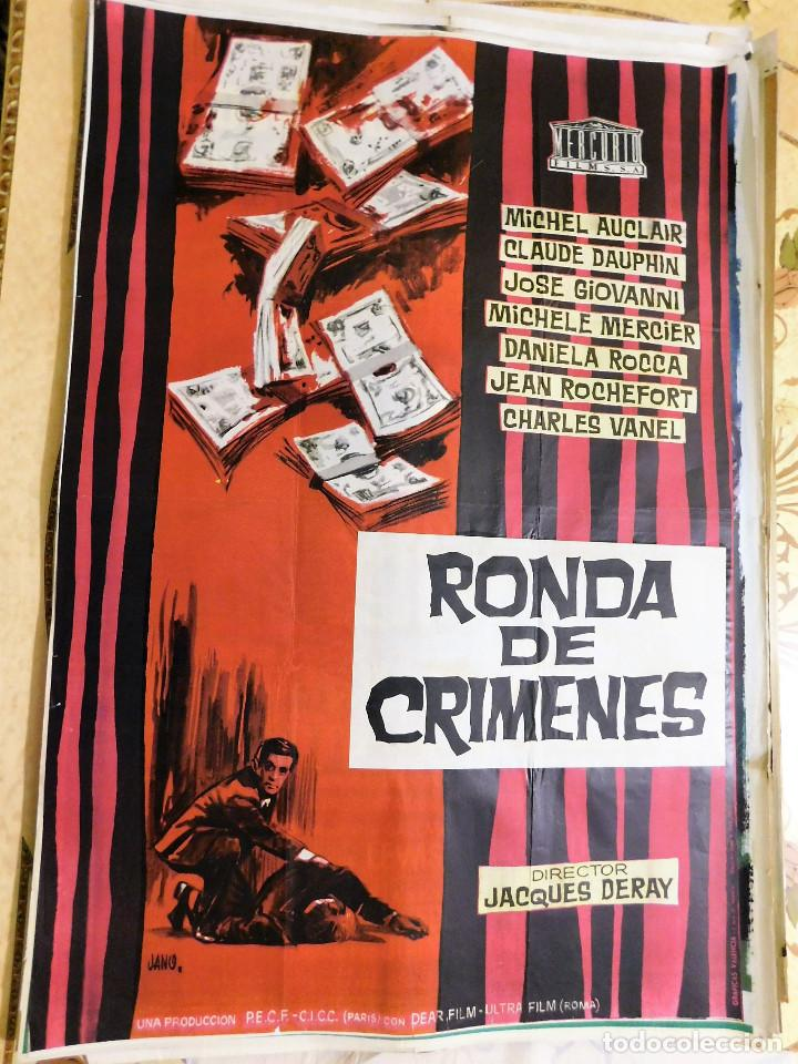 CARTEL ORIGINAL CINE RONDA DE CRIMENES JACQUES DERAY MICHEL AUCLAIR CLAUDE  DAUPHIN