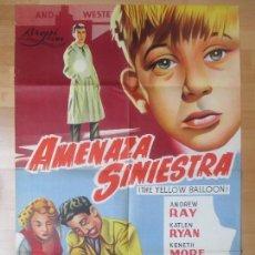 Cine: CARTEL CINE, AMENAZA SINIESTRA, ANDREW RAY, KATLEN RYAN, 1961, LITOGRAFIA, C1387. Lote 122567715