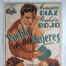Cine: CARTEL CINE, PUEBLA DE LAS MUJERES, MARUJITA DIAZ, RUBEN ROJO, LITOGRAFIA, ILUSTRA PERIS ARAGÒ C-344. Lote 122890567