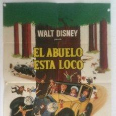 Cine: EL ABUELO ESTA LOCO - POSTER CARTEL ORIGINAL - WALT DISNEY THE GNOME-MOBILE WALTER BRENNAN. Lote 124882947