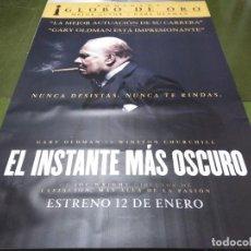 Cine: EL INSTANTE MÁS OSCURO - APROX 120X210 LONA/BANNER ORIGINAL CINE (X16). Lote 125239619