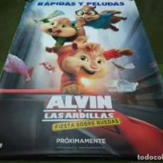 Cine: ALVIN Y LAS ARDILLAS, FIESTA SOBRE RUEDAS - APROX 120X210 LONA/BANNER ORIGINAL CINE (X16). Lote 125240255