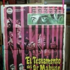 Cine: EL TESTAMENTO DEL DR MABUSE .GERT FROBE SENTA BERGER POSTER ORIGINAL 70X100 ESTRENO . Lote 125386163