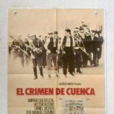 Cine: EL CRIMEN DE CUENCA - POSTER CARTEL ORIGINAL -PILAR MIRO AMPARO SOLER LEAL FERNANDO REY. Lote 126477495